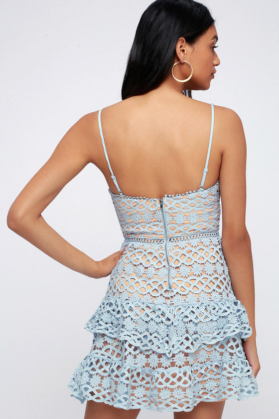 Abby Lace  Dress in Blue
