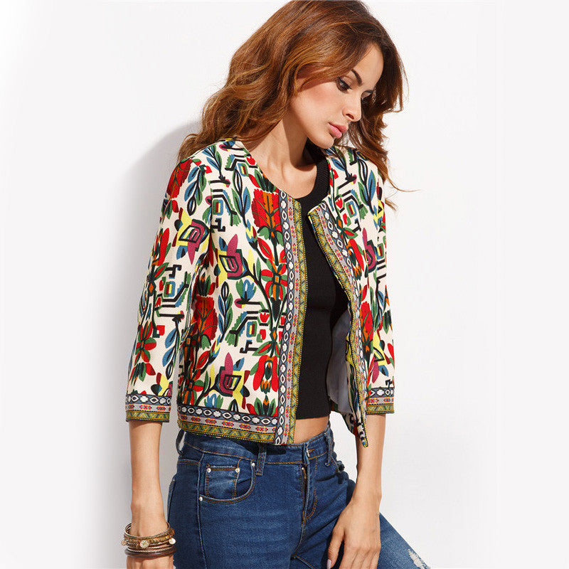 Tribal Print Embroidered  Jacket