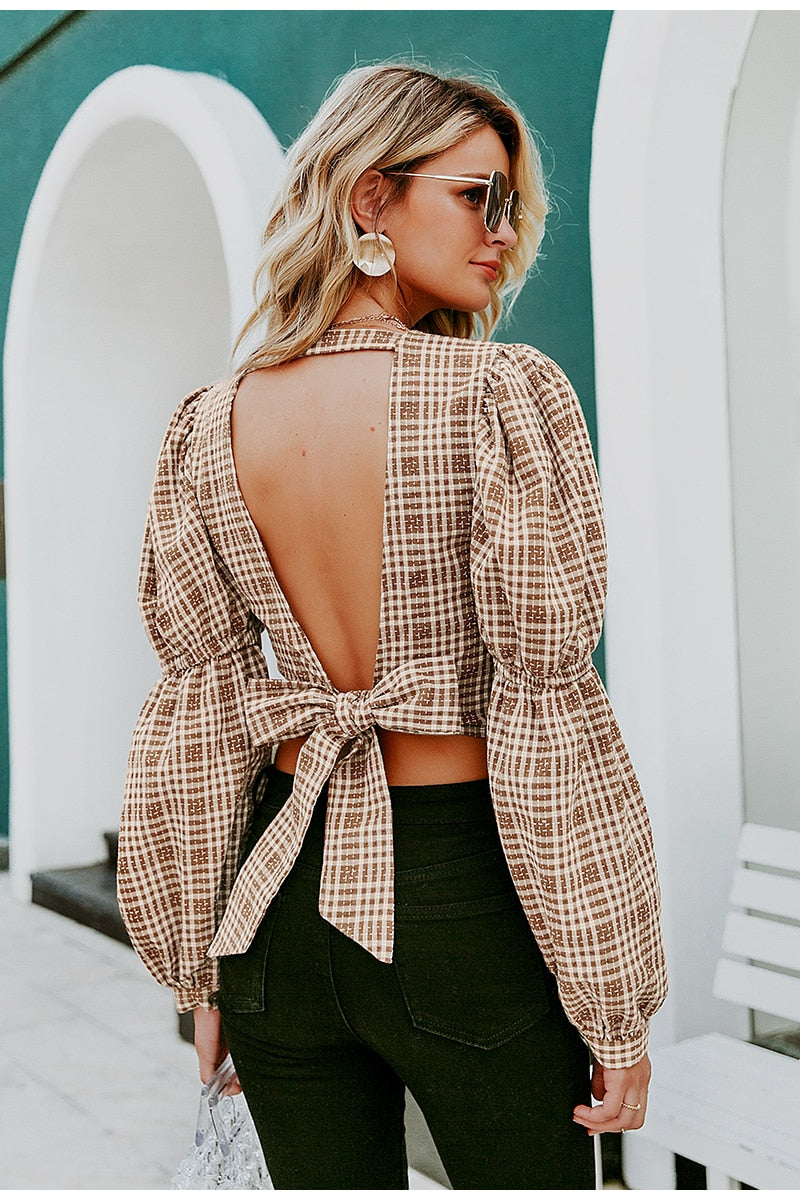 Simone  Plaid Top