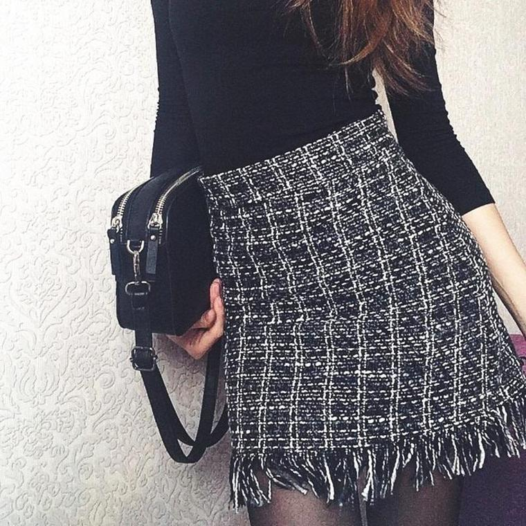 Plaid Tassel Skirt