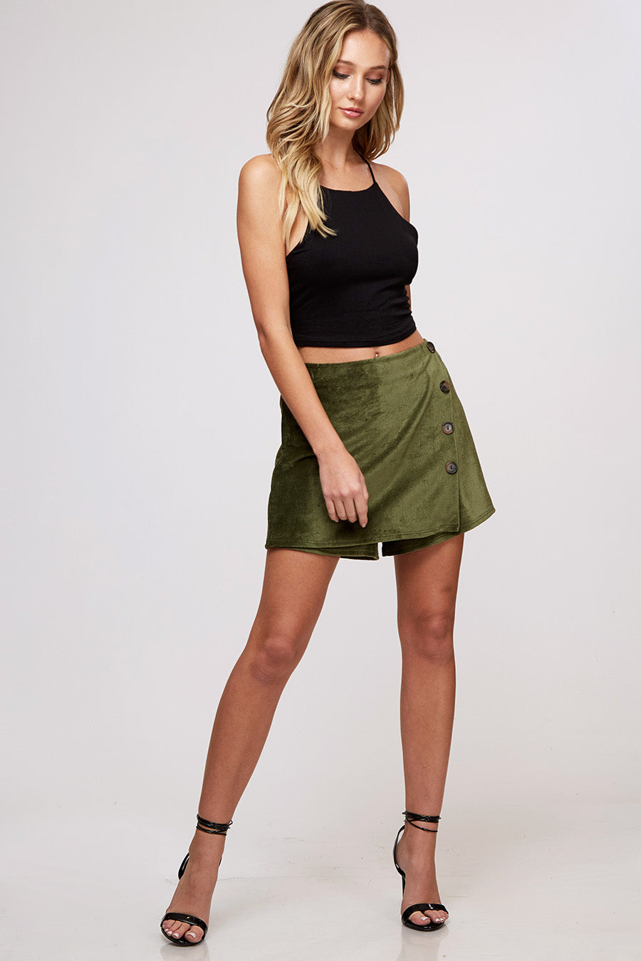 Yuni the Label Olive Corduroy Mini Skirt with Button Trim