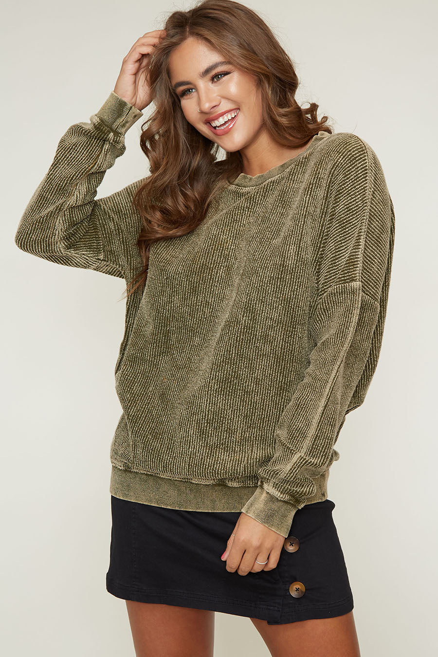 Yuni the Label Olive Green Corduroy Lightweight Sweater