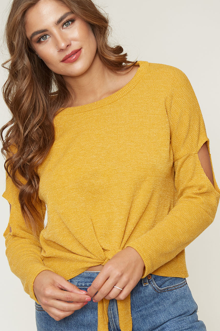 Yuni the Label Mustard Yellow Front Tie Knit Top