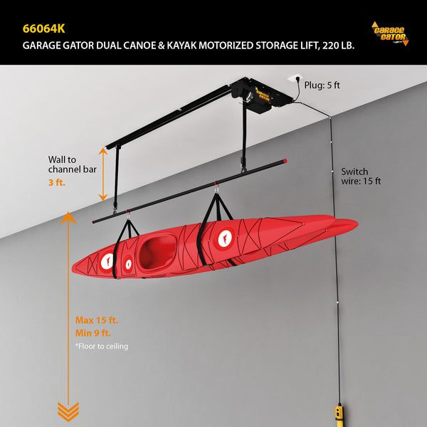 Garage Gator with Dual Canoe and Kayak Storage Lift – 220 lb
