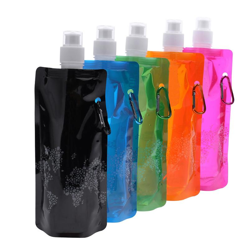 0.5L Water Bottles Ultralight Foldable Silicone Cup Outdoor Sports Hiking Camping Soft Flask Water Foldable Bag