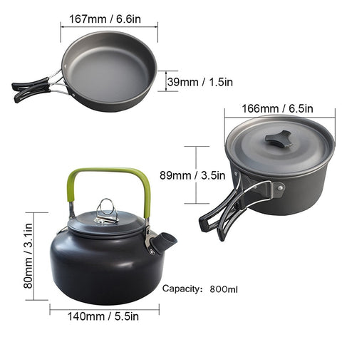 1 Set Outdoor Pots Pans Camping Cookware Picnic Cooking Set Non-stick Tableware  With Foldable Spoon