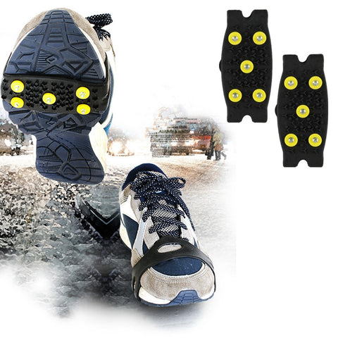 1 pair 5-Stud Snow Ice claw Climbing Anti Slip Spikes Grips Crampon Cleats Shoes Cover for women men