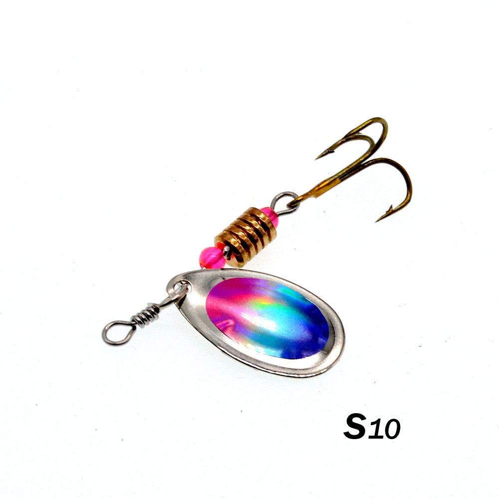 10 Colors Peche Spinner Fishing Lures Wobblers CrankBaits Jig Shone Metal Sequin Trout Spoon With Hooks for Carp Fishing Pesca