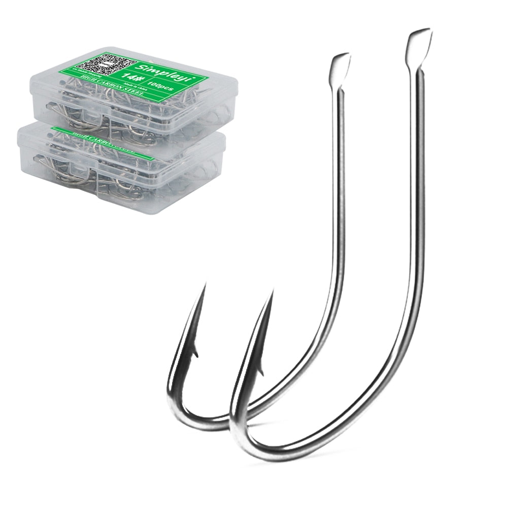 100pcs/box 1-14# High Carbon Steel Crooked Barbed Fishhook Black Flat Carp Fishing Hooks Set Accessories Tool Fish Tackle