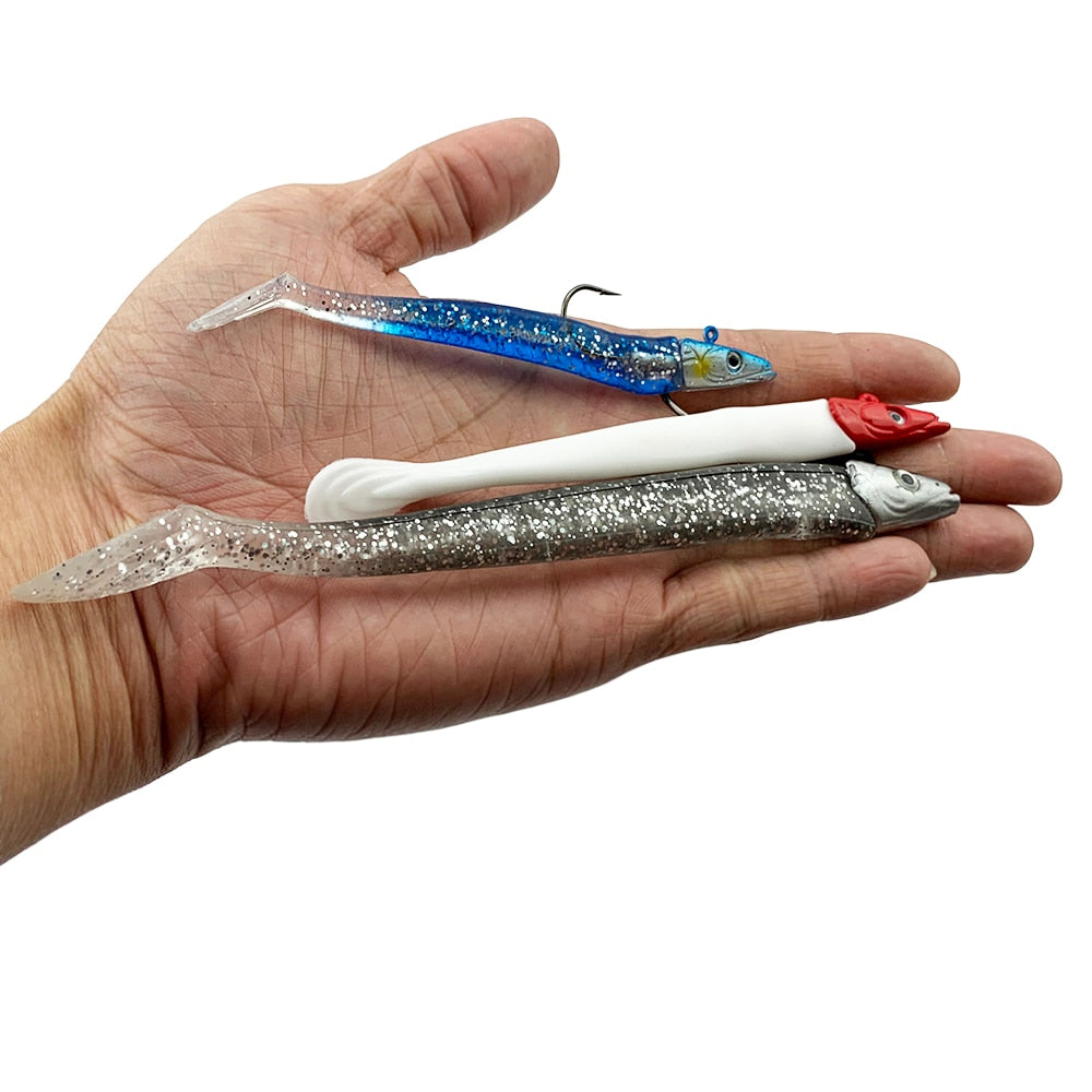 10g 19g 34g Glow Eel Soft Lure Wobbler Artificial Bait Silicone Sea Bass pike Rockfish Grouper Carp Fishing Lead Jig Head Tackle