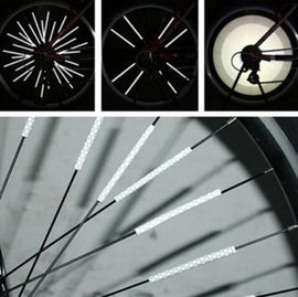 12Pcs Bicycle Mountain Bike Riding Wheel Rim Spoke Mount Clip Tube Warning Light Bike Strip Reflector Reflective
