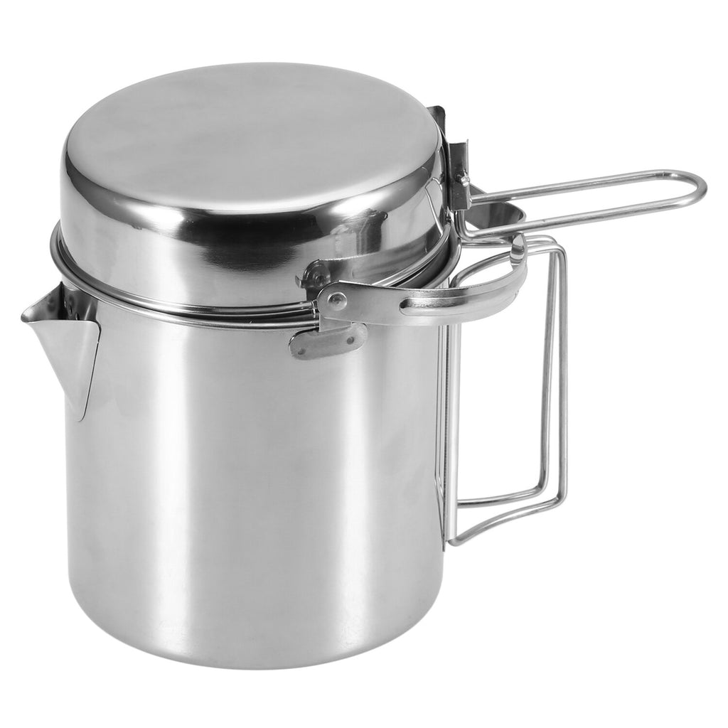 1L Stainless Steel Cooking Kettle Pot Pan Set Portable Outdoor Camping Kamp Backpacking Pot Cookware