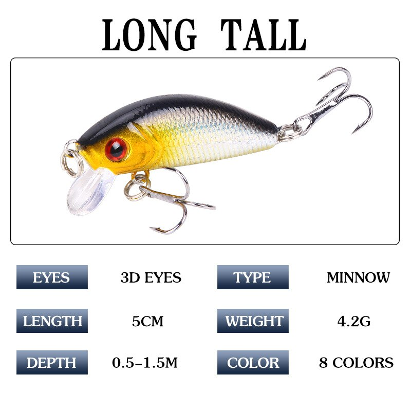 1PCS Minnow Fishing Lure 50mm4.2g Topwater Hard Bait Wobbler Jig Bait Crankbait Carp Striped bass Pesca Fishing tackle SwimBait