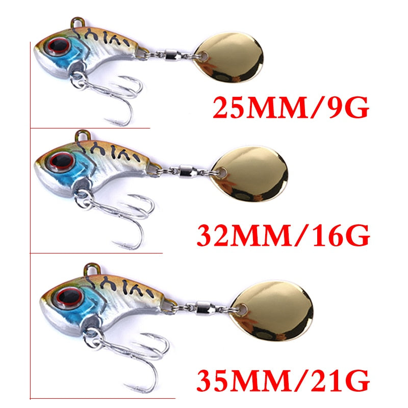 1Pcs Rotating Metal VIB vibration Bait Spinner Spoon Fishing Lures 9g 16g 21g Jigs Trout Winter Fishing Hard Baits Tackle Pesca