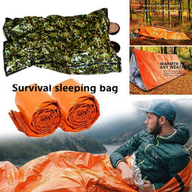 1pc Portable PE Survival Sleeping Bag Outdoor Thermal Keep Warm Waterproof Camouflage Emergency