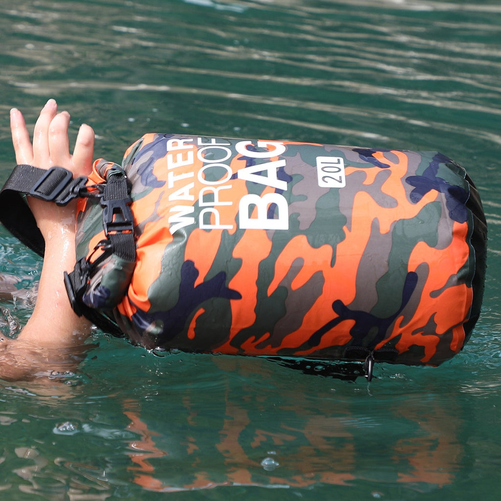 2/5/10/15L Outdoor Camouflage Waterproof Portable Rafting Diving Dry Bag Sack PVC Swimming Bags