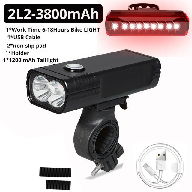 20000Lums Bicycle Light L2/T6 USB Rechargeable 5200mAh Bike Light IPX5 Waterproof LED Headlight  as Power Bank Bike Accessories