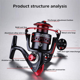 Fishing Spinning Reel Saltwater Fishing Reel Carp Fishing Reels 6000 4.7:1 13 BB Rock Fishing