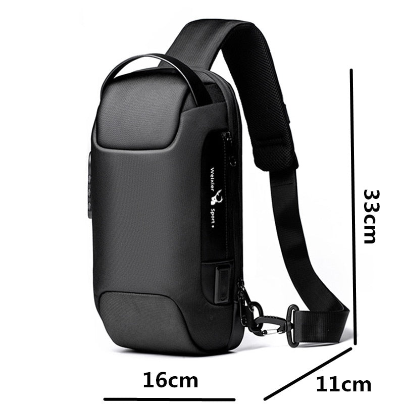 2020 Men's Waterproof Oxford Multifunction Crossbody Bag Anti-theft Shoulder Bags Short Trip