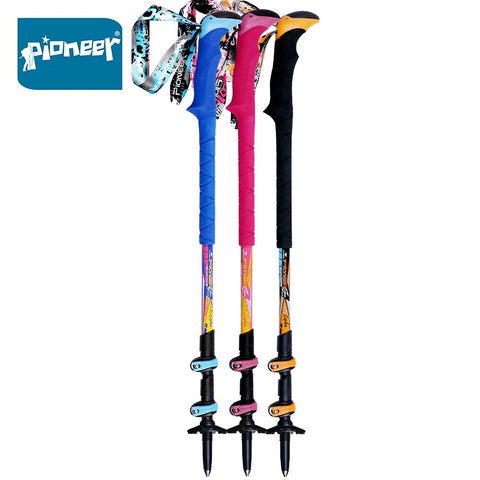PIONEER 2Pcs/lot Carbon Fiber Nordic Walking Sticks Telescopic Trekking Hiking Poles Ultralight
