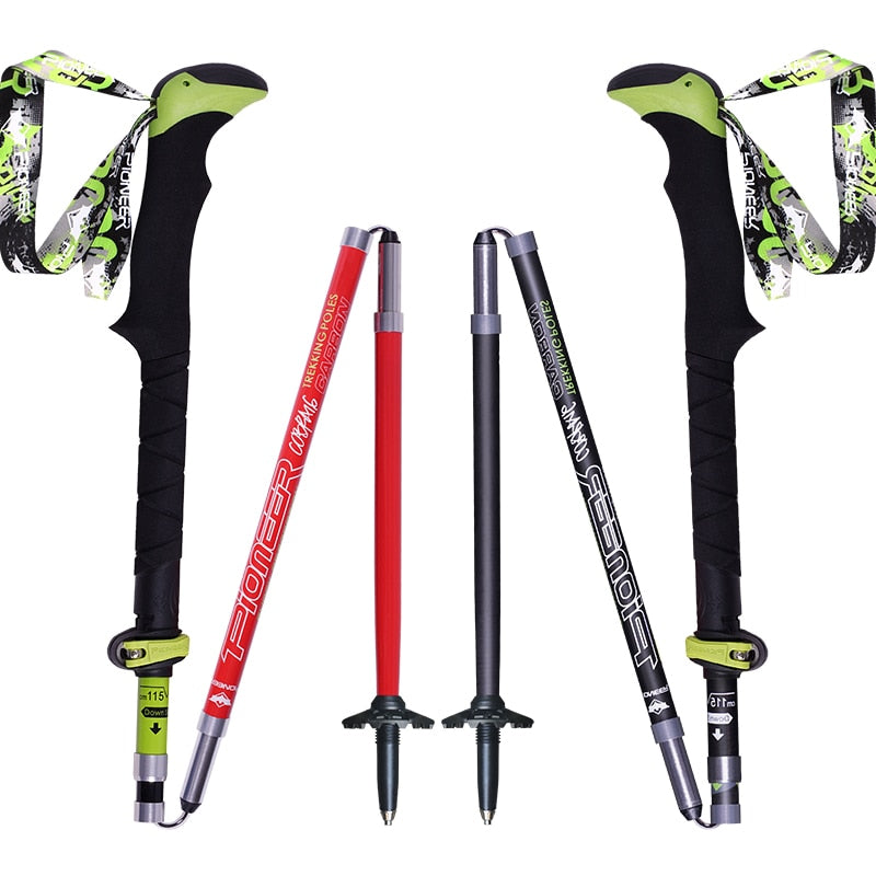 2pcs/pack Carbon Fiber Trekking Poles Ultralight Folding Collapsible Trail Running Hiking Walking