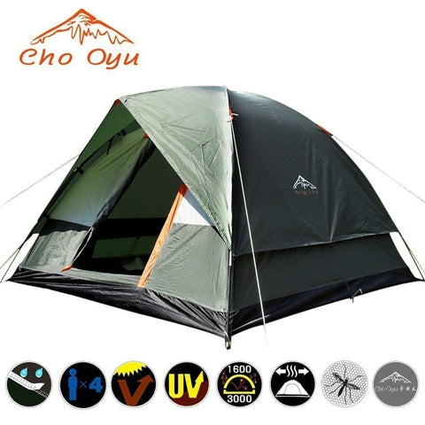 3-4 Person Windbreak Camping Tent Dual Layer Waterproof Anti UV Tourist Tents for Fishing Hiking