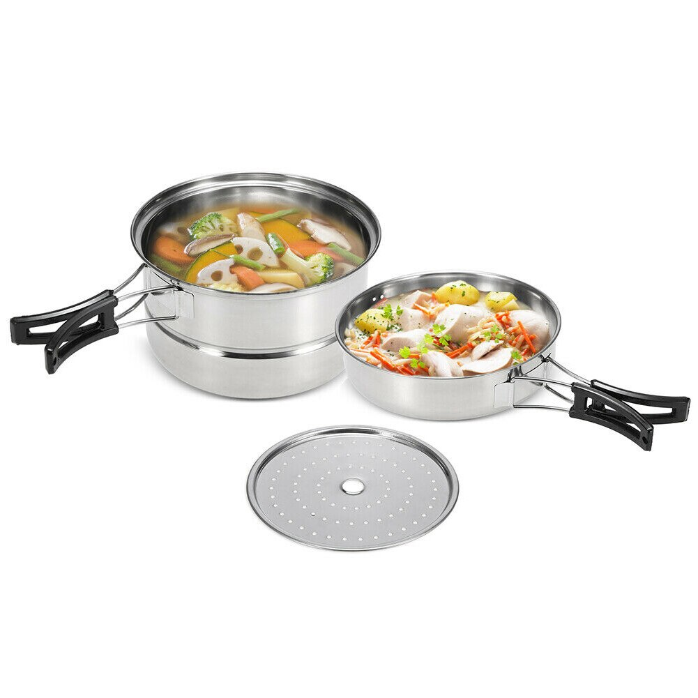3pcs Cooking Set Stockpot Practical Frying Pan Cookware Kitchen Multi Use Stainless Steel Long