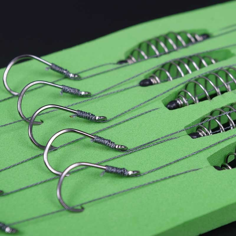 5 Pcs/Set Double Hook Fishing Line Stainless Steel Barbed Carp Hooks Bait Feeder Spring Fish Hook Tools Accessories