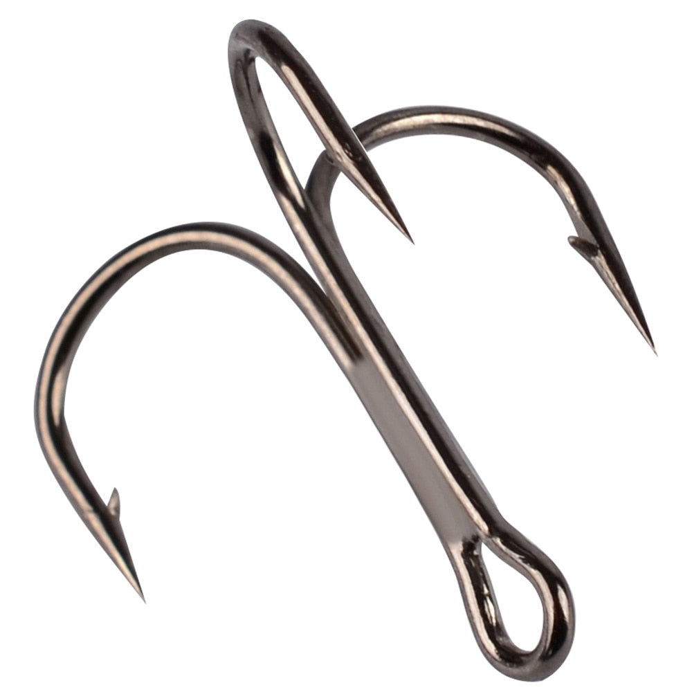 50Pcs/lot 2/4/6/8/10/12/14# Black/Gold/Silver Fishing Hook High Steel Carbon Material Three Hooks Fishing Tackle Tools