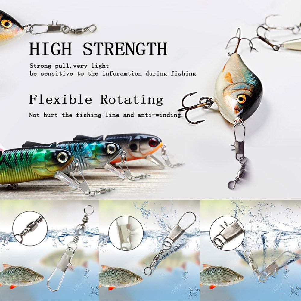 50pcs Swivels Interlock Snap Fishing Lure Tackles Gear Accessories Connector Copper Swivels Pin Bearing Rolling Solid Fish Tool
