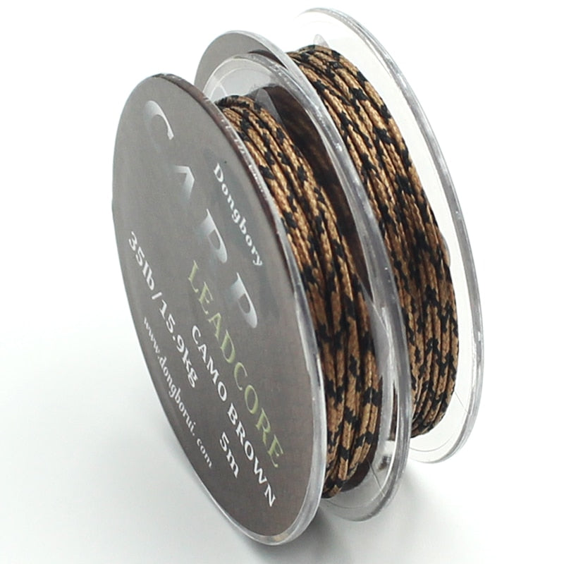 5m Braided Lead Core Carp Leader Line Camo Brown Mainline Leadcore for Carp Rig Chod Helicopter