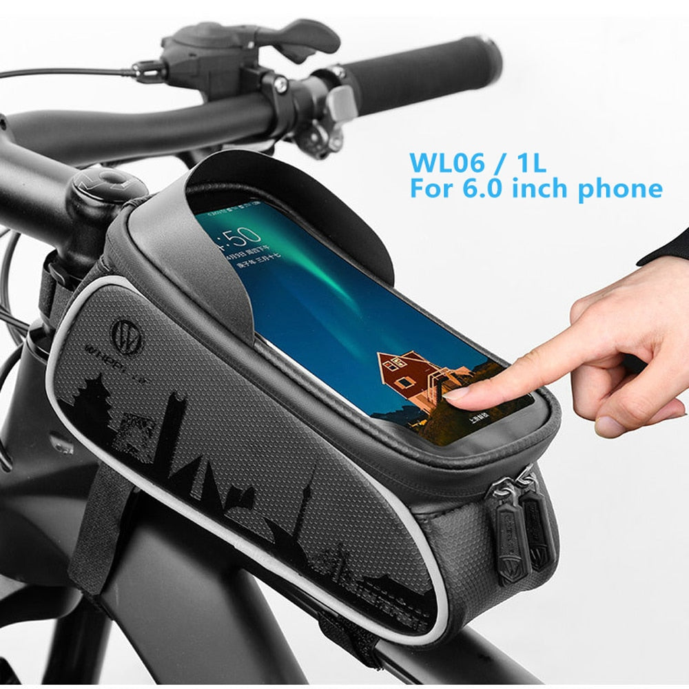 7.0 inch Touch Screen Phone Case Bag Bike Bicycle Front Top Tube Bag Waterproof Cycling Phone Mount For MTB Frame Handlebar Bag