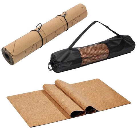 72 *24 inch Natural Cork TPE Yoga Mat Non-slip Pilates Exercise Mats Fitness Gym Sports Slimming