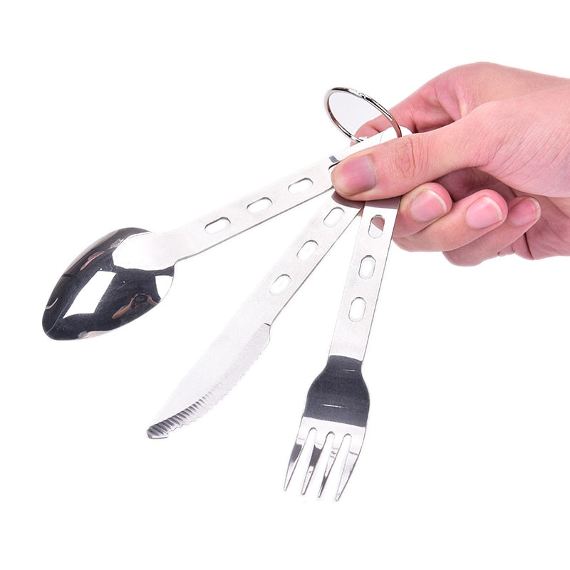 84g stainless steel Spoon Fork Knife Set Camping Tableware Ultralight Travel Tourist Outdoor