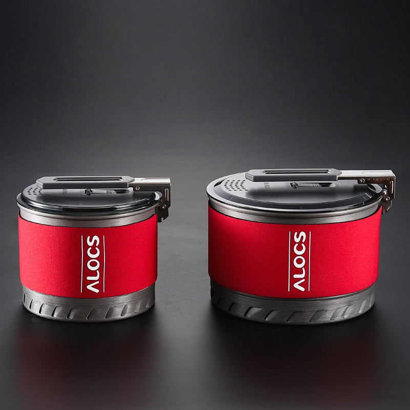 Alocs 1-2 Person Portable Windproof Fast-Heating Outdoor Picnic Hiking Camping Cookware Utensils Pot