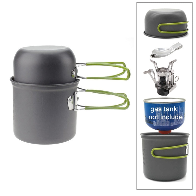 Aluminum Alloy Camping Pot Hiking Picnic Tourist Tableware Set With Folding Spoon Mini Gas Stove