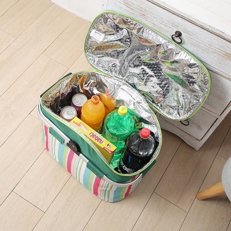 Aluminum Film Freshness Insulated Portable Picnic Bag Waterproof 26L Capacity Car Camping Box