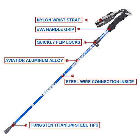 Anti Shock Walking Stick Hiking Trekking Trail Ultralight 4-section Adjustable Canes Aluminum