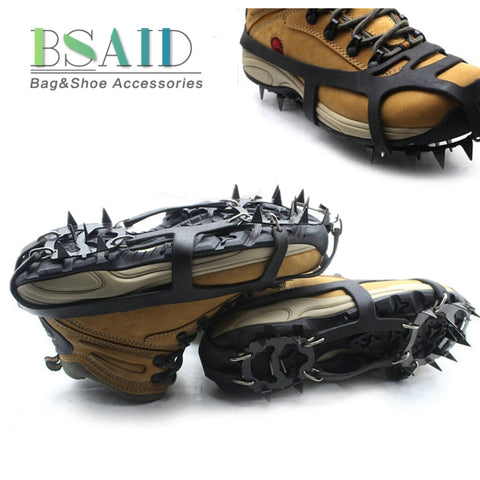 BSAID 1 Pair Non-Slip Crampons Ice Gripper 18 Teeth Spike Grips Cleats For Ice Snow Climbing