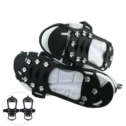 BSAID Outdoor Ice Floes Gripper 10 Nails, Snow Crampons Strap Climbing Cleats Spikes Non Slip