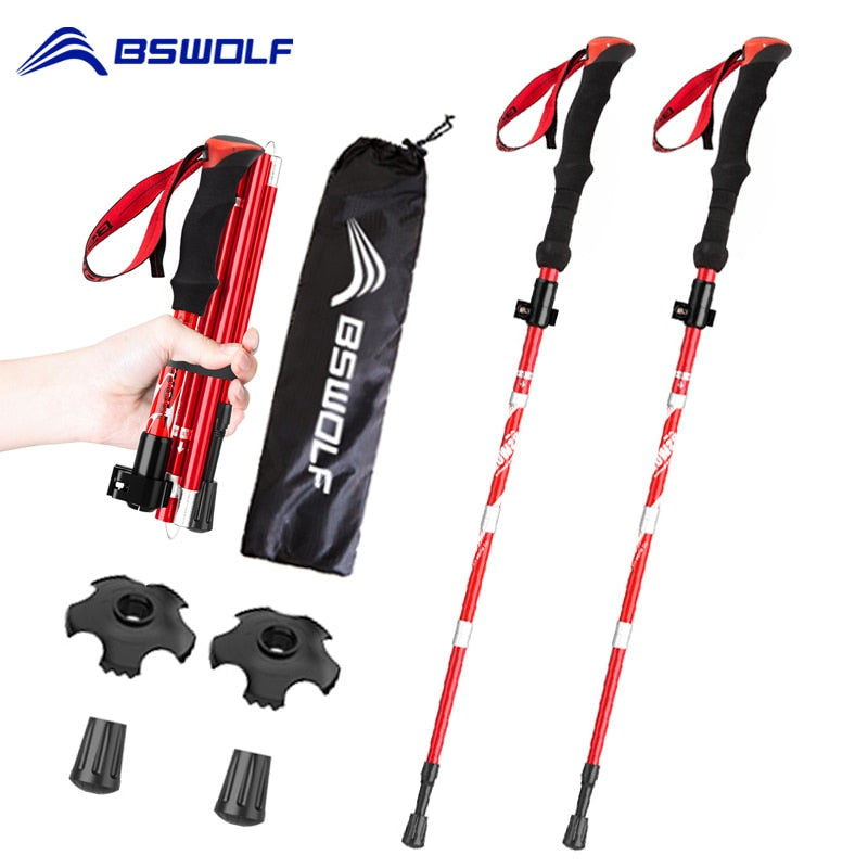 BSWOLF 2Pcs Foldable Walking Sticks Ultralight Camping Hiking Folding Trekking Poles Aluminum