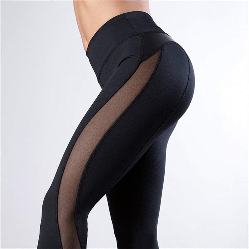 Black Fitness Legging Women Heart Workout Legginngs Femmle Mesh And PU Leather Patchwork Leggings