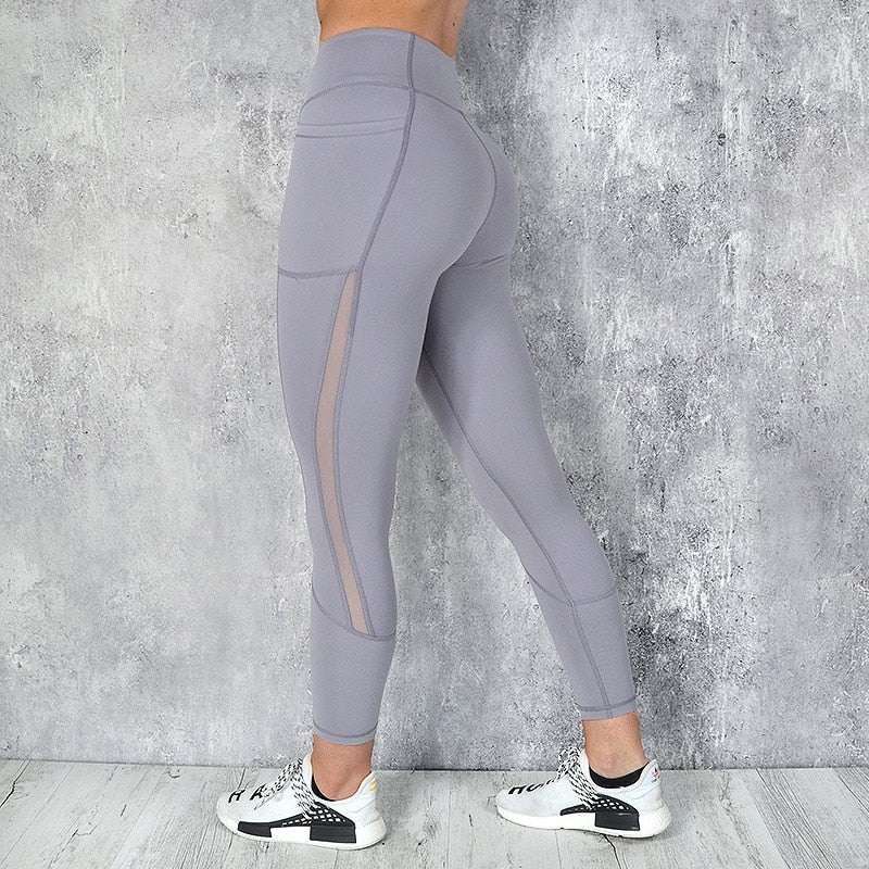 CHRLEISURE High Waist Pocket Leggings Solid Color Workout leggings Women Clothes Side Lace