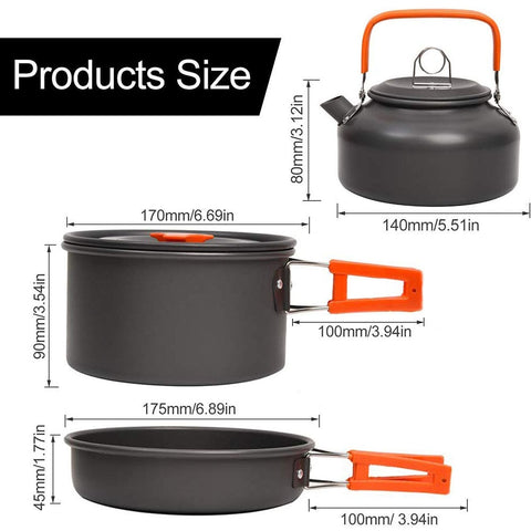 Camping Cookware Kit Outdoor Aluminum Cooking Set Water Kettle Pan Pot Travelling Hiking Picnic