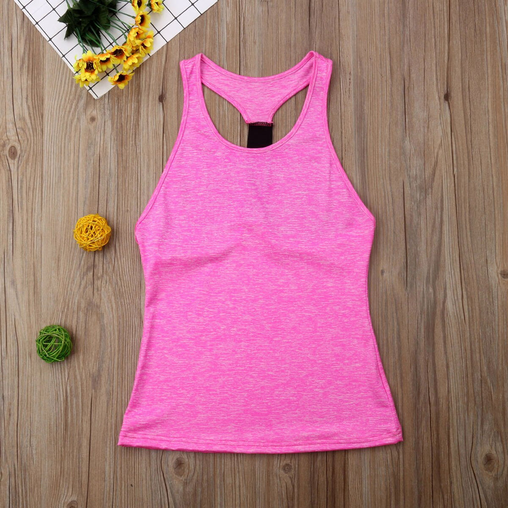 Casual Sleeveless Yoga Shirts Women Gym Tank Vest Tops Running Sporting Stretch Fast Dry Wicking