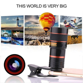 Clip-on 12x Optical Zoom Universal Telescope Camera Lens for Phone Lens Accessories
