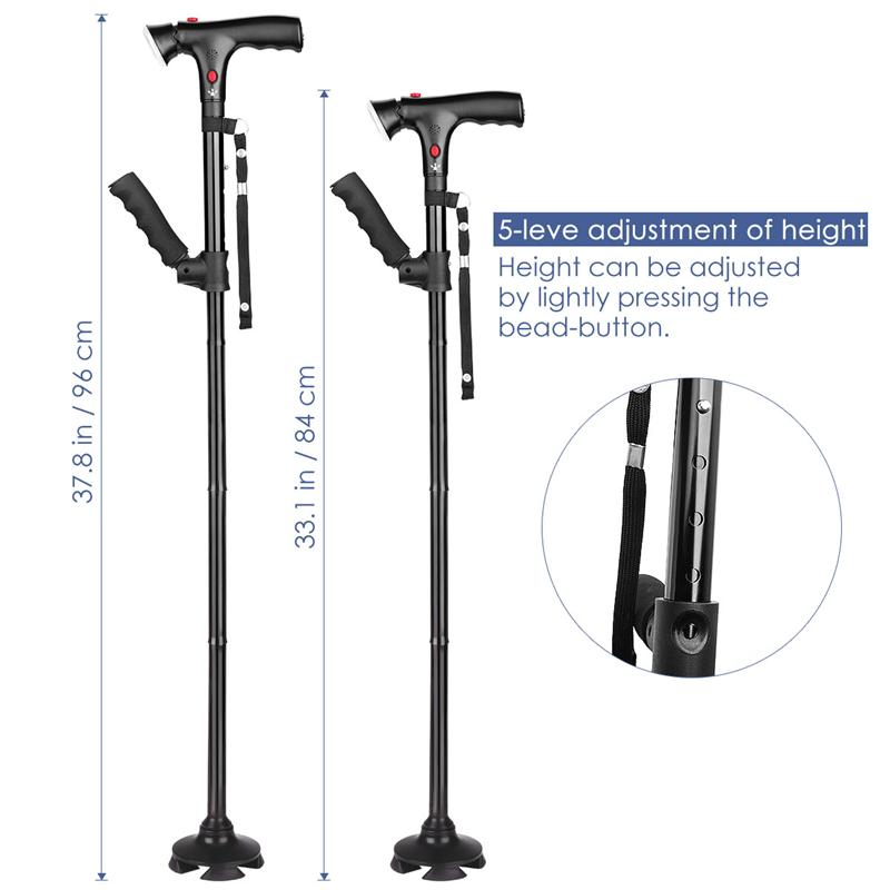Collapsible Telescopic Folding Cane Elder Cane LED Walking Trusty Sticks Elder Crutches