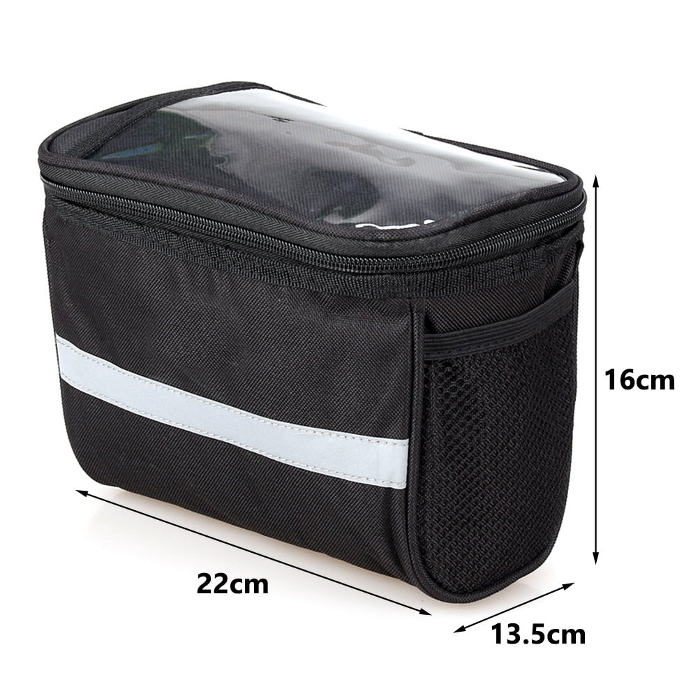 Cycling Bicycle Insulated Front Bag MTB Bike Phone Holder Handlebar Bag Basket Pannier Cooler Bag With Strip Bike Accessories
