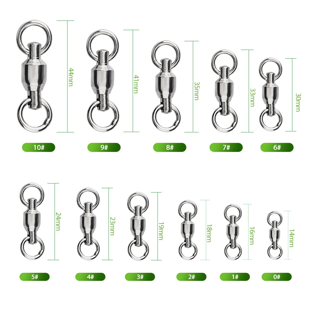 DNDYUJU 10pcs Stainless Steel Fishing Heavy Duty Ball Bearing Swivel With Solid Ring Connector Fishhook Tackle Accessory Tool