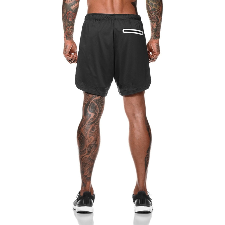 Double layer Jogger Shorts Men 2 in 1 Short Pants Gyms Fitness Built-in pocket Bermuda Quick Dry